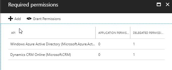 Application registration Permissions for the Dynamics 365 oData API